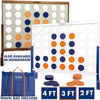 Giant 4 in A Row, 4 to Score – Premium Wooden Four Connect Game Set in 4' Wood..