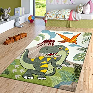 "Paco Home Kids Rug Jurresic World T-Rex Dinosaur Jungle in Green, Size:5'3"" x 7'7"""
