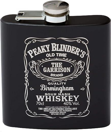 Peaky Blinders - Petaca de acero inoxidable (170 g), color negro