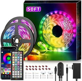 50Ft LED Strip Lights Music Sync Color Changing RGB LED Strip 44-Key Remote, Sensitive..