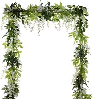 DearHouse 4Pcs 6.6Ft/Piece Artificial Flowers Silk Wisteria Garland Artificial Wisteria..