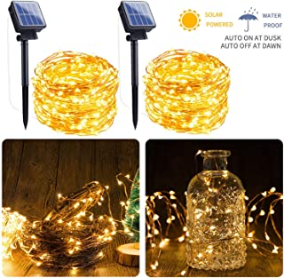 Outdoor Solar String Lights, 2 Pack 33FT 100 LED Solar Powered Fairy Lights with 8..
