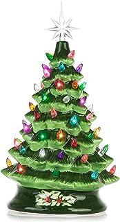 RJ Legend 15-Inch Cordless Green Ceramic Christmas Tree – Decorative Christmas Tree..