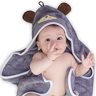 Premium Hooded Baby Towel, 100% Organic Bamboo, Free Baby Bib or Gloves, 35×35 for..