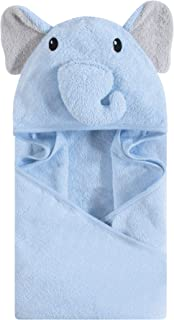 Hudson Baby Unisex Baby Cotton Animal Face Hooded Towel, Light Blue Elephant, One Size