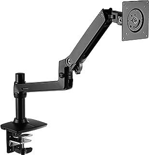 AmazonBasics Premium Single Monitor Stand – Lift Engine Arm Mount, Aluminum – Black