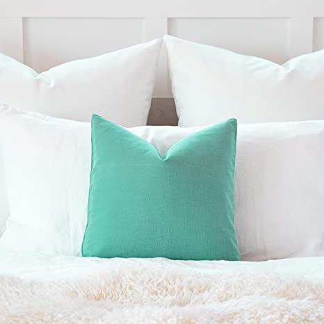 Amazon Com Decorative Accent Throw Pillow Cushion Cover Solid Toss Sham Pillowcase For Sofa Couch Floor Bedroom Car I Premium Quality 100 Cotton Home Decor Fabric Seafoam Green 16 X16 Home Kitchen