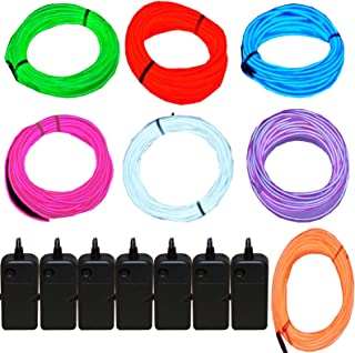 7 Pack – Jytrend 9ft Neon Light El Wire w/ Battery Pack (Green, Blue, Red, Orange,..