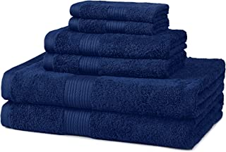 AmazonBasics 6-Piece Fade-Resistant Cotton Bath Towel Set – Navy Blue