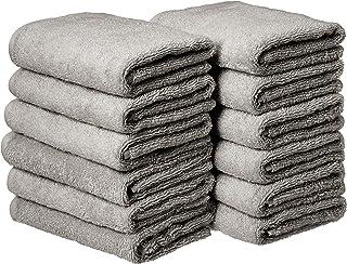 AmazonBasics Cotton Hand Towels, Gray – Pack of 12