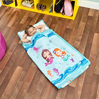 EVERYDAY KIDS Toddler Nap Mat with Removable Pillow -Underwater Mermaids- Carry Handle..