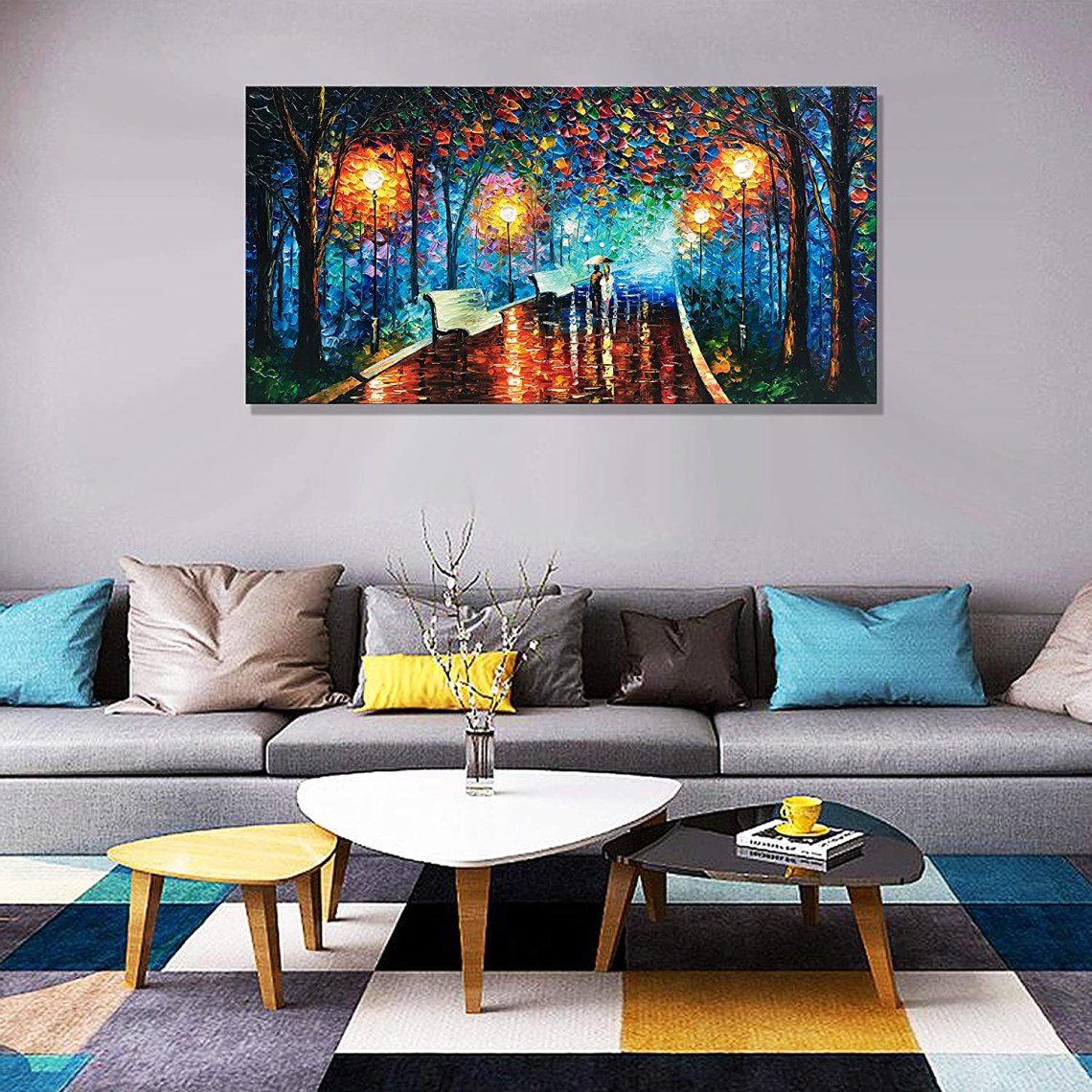 Buy Diathou Art 100 Hand Painted Contemporary Art Abstract Art Mural Hand Painted Home Office Decoration Oil Painting Wall Art Living Room Bedroom Dining Room Art Home Decoration 24x48 Inches Online In Indonesia B07r8llhr3