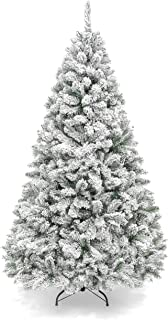 Best Choice Products 6ft Snow Flocked Hinged Artificial Pine Christmas Tree Holiday..