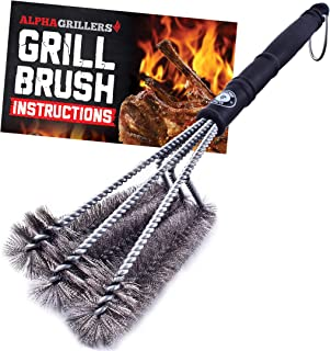 """Alpha Grillers 18"""" Grill Brush. Best BBQ Cleaner. Safe for All Grills. Durable &.."""
