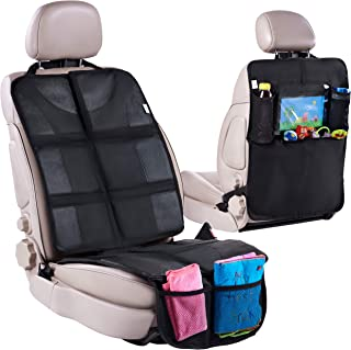 Car Seat Protector with Thickest Padding + Backseat Car Organizer, XL Largest Car Seat..