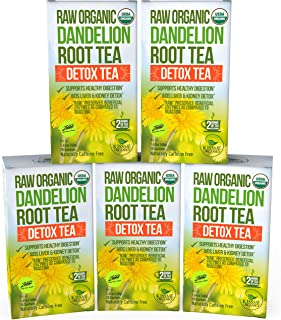 Dandelion Root Tea Detox Tea – Raw Organic Vitamin Rich Digestive – 5 Pack..