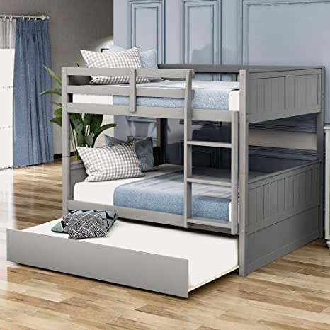 Amazon Com Harper Bright Designs Bunk Bed Full Over Full Full Szie Bunk Bed With Trundle Solid Pine Wood Full Bunk Bed Frame For Kids Teens Full Over Full With Trundle Grey Kitchen