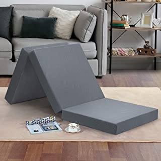 "Olee Sleep Tri-Folding Memory Foam Topper, 4"", Gray, Single size, Play Mat, Foldable.."