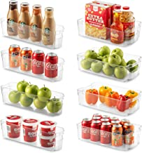 Set Of 8 Refrigerator Organizer Bins – 4 Large and 4 Small Stackable Fridge..