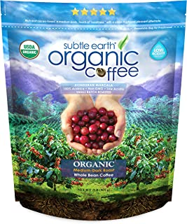2LB Subtle Earth Organic Coffee – Medium-Dark Roast – Whole Bean –..