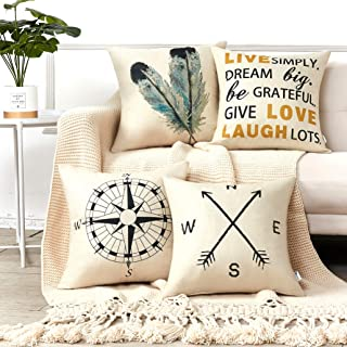 Anickal Decorative Throw Pillow Covers 18×18 Inches Set of 4 Cotton Linen Compass..