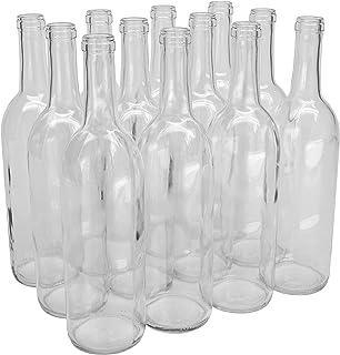 North Mountain Supply 750ml Glass Bordeaux Wine Bottle Flat-Bottomed Cork Finish –..
