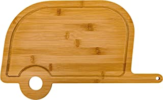 Camco Life is Better at The Campsite Retro RV Shaped Bamboo Wood Cutting Board for Food..