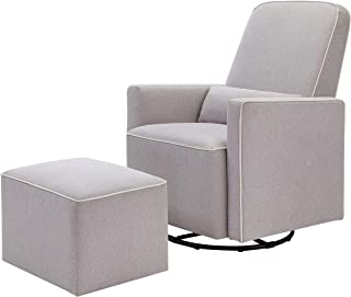 DaVinci Olive Upholstered Swivel Glider with Bonus Ottoman in Grey with Cream Piping,..