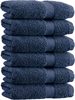 White Classic Luxury Hand Towels | Cotton Hotel spa Bathroom Towel | 16×30 | 6 Pack | Navy Blue