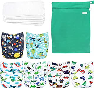 wegreeco Washable Reusable Baby Cloth Pocket Diapers 6 Pack + 6 Bamboo Inserts (with 1..