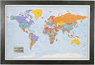 Personalized Push Pin World Travel Map with Rustic Black Frame and Pins – Blue..