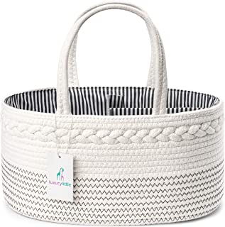 Luxury Little Baby Diaper Caddy Organizer – Rope Nursery Storage Bin for Boys and..
