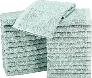 AmazonBasics Terry Cotton Washcloths, Seafoam Green – Pack of 24