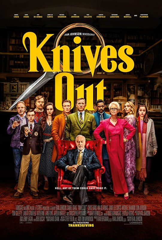 Jamie Lee Curtis, Don Johnson, Toni Collette, Christopher Plummer, Daniel Craig, Chris Evans, Michael Shannon, Ana de Armas, LaKeith Stanfield, Jaeden Martell, and Katherine Langford in Knives Out (2019)