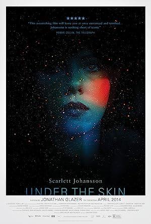 Poster do filme - Sob a Pele - Mulher com rosto quase sumindo no escuro