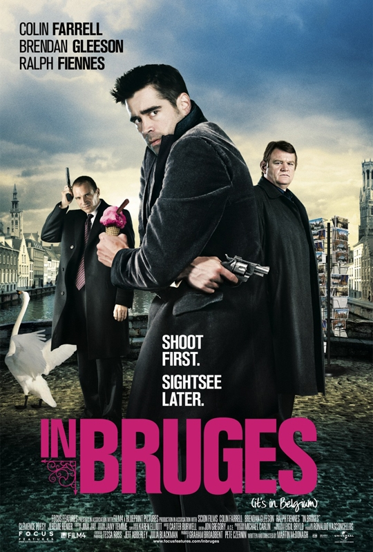 Ralph Fiennes, Colin Farrell, and Brendan Gleeson in In Bruges (2008)