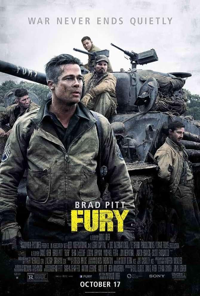Fury 2014 BRRip 720p Dual Audio Hindi English X264 ESub at movies365