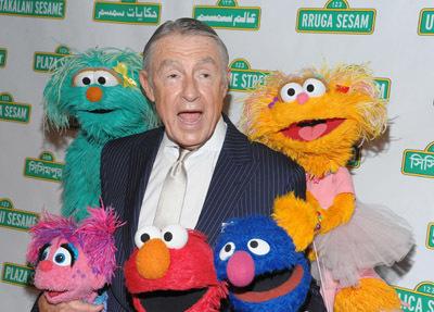 Joel Schumacher with Sesame Street Puppets