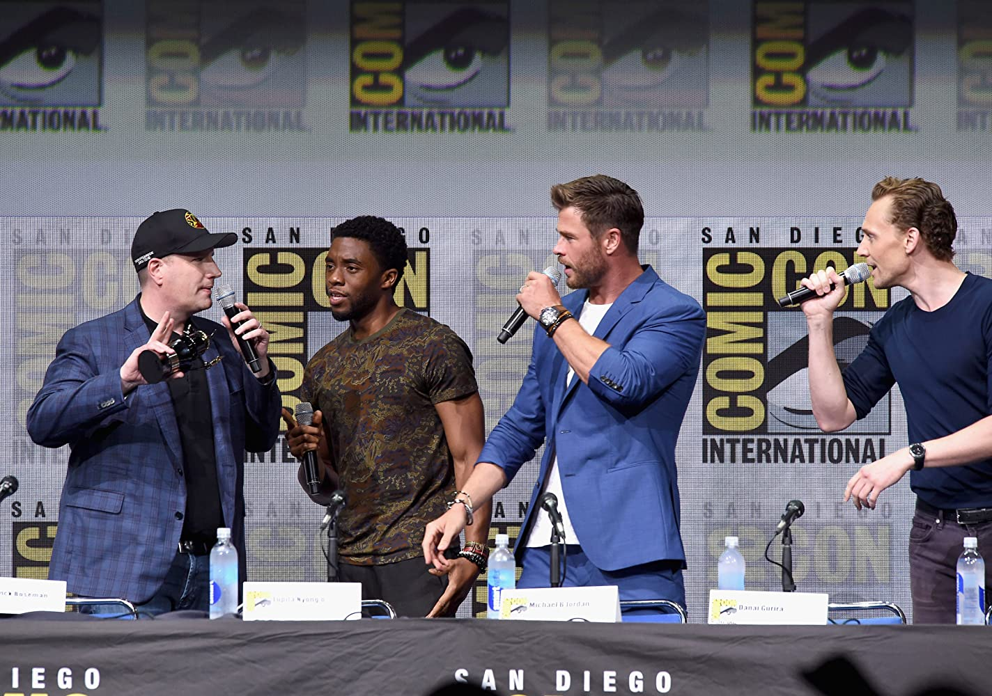 Kevin Feige, Tom Hiddleston, Chris Hemsworth, and Chadwick Boseman at an event for 'Avengers: Infinity War'. Photo by Kevin Winter - © 2017 Getty Images