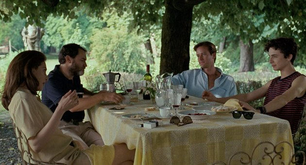 Amira Casar, Michael Stuhlbarg, Armie Hammer, and Timothée Chalamet in Call Me by Your Name (2017)