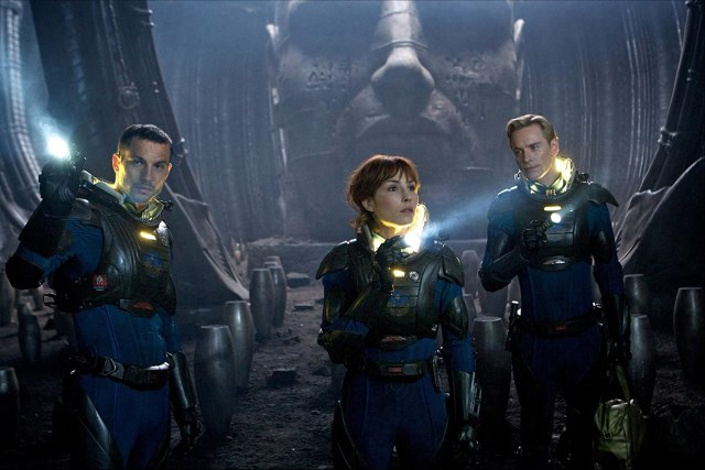 Noomi Rapace, Michael Fassbender, and Logan Marshall-Green in Prometheus (2012)