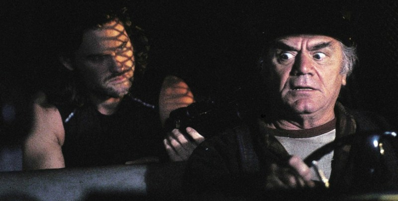 Ernest Borgnine and Kurt Russell in Escape from New York (1981)