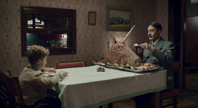 Taika Waititi and Roman Griffin Davis in Jojo Rabbit (2019)