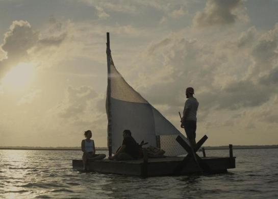 Shia LaBeouf, Zack Gottsagen, and Dakotah Johnson in The Peanut Butter Falcon (2019)