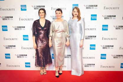 Rachel Weisz, Emma Stone, and Olivia Colman at an event for The Favourite (2018)