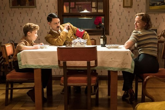 Taika Waititi, Scarlett Johansson, and Roman Griffin Davis in Jojo Rabbit (2019)