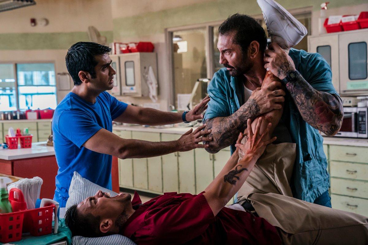 Dave Bautista, Rene Moran, and Kumail Nanjiani dalam Stuber (2019)