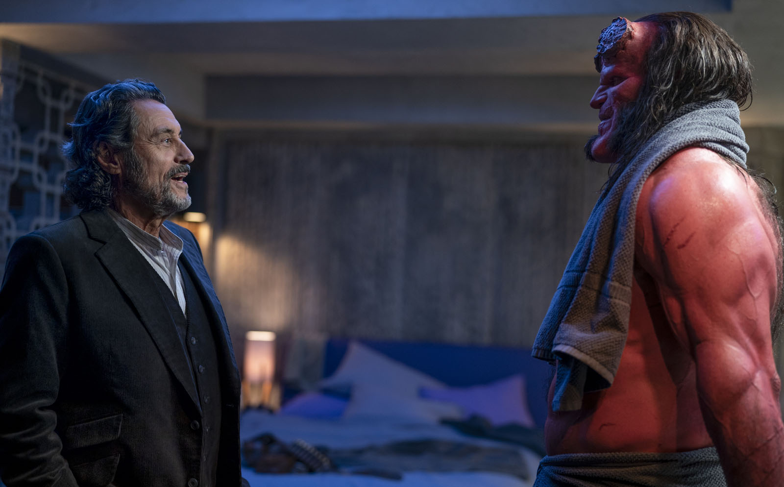 Ian McShane and David Harbour / Hellboy / Summit Entertainment. © 2019. All rights reserved.