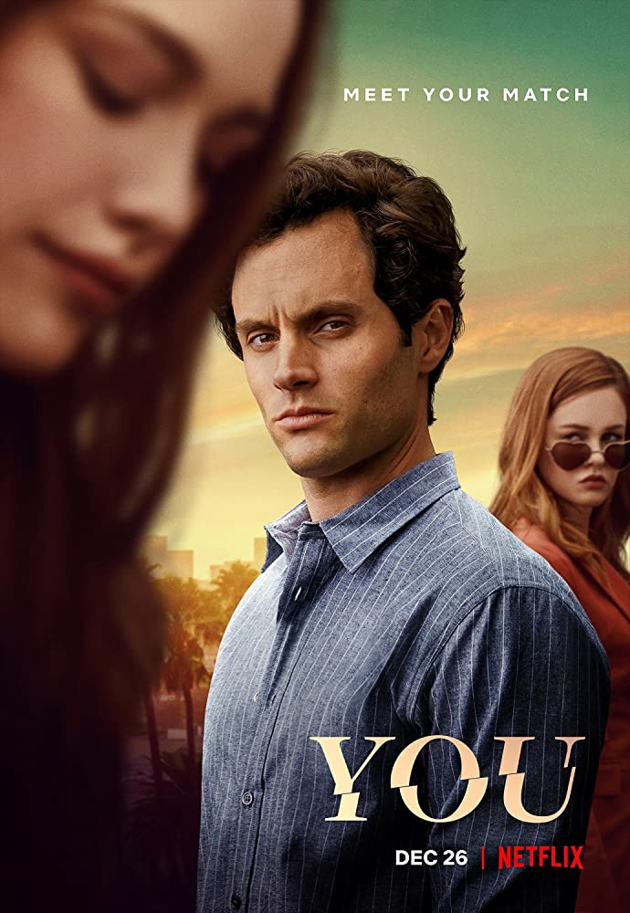 Penn Badgley, Ambyr Childers, and Victoria Pedretti in You (2018)