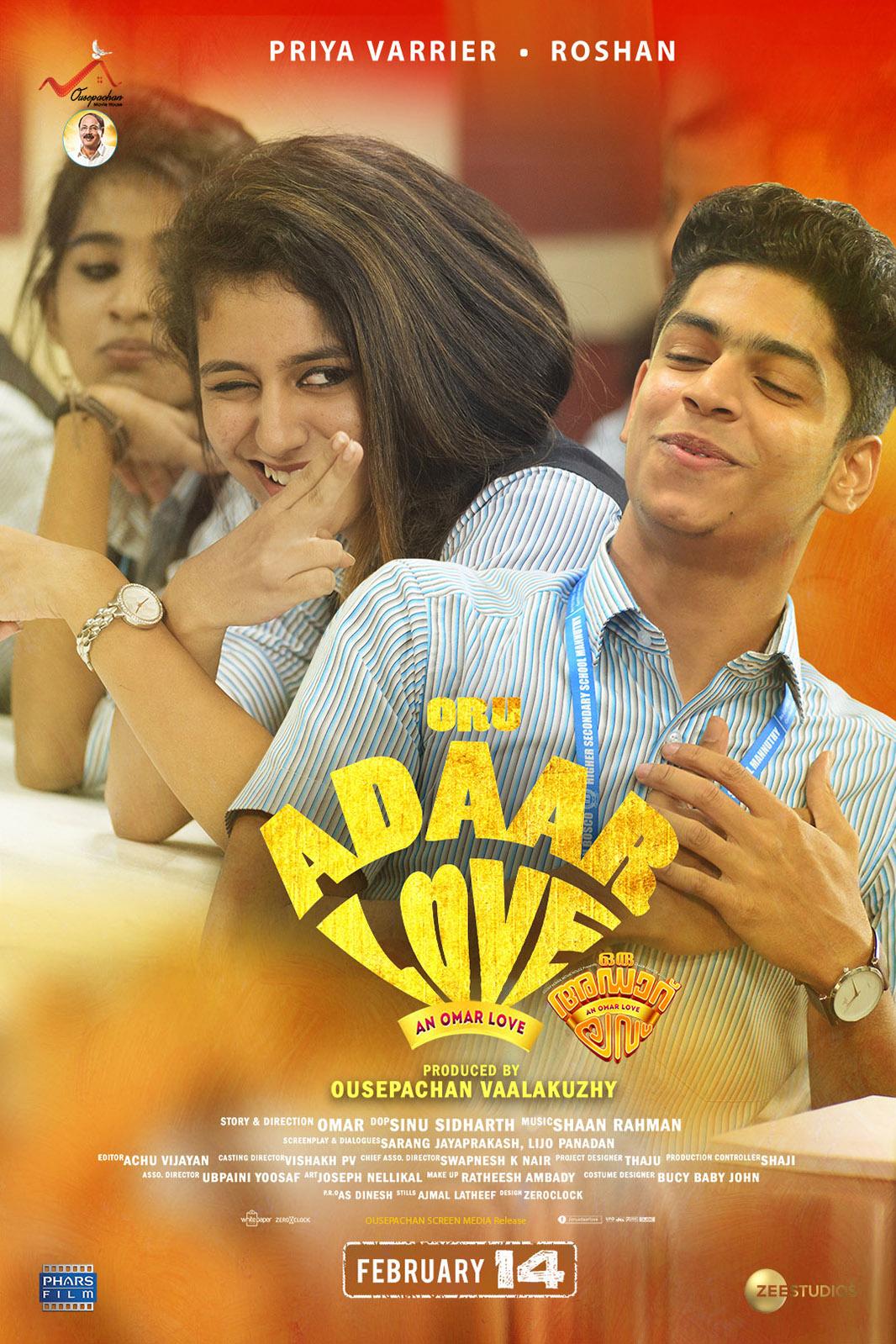 Ek Dhansu Love Story (Oru Adaar Love) 2021 Hindi Dubbed 720p HDRip 800MB | 380MB Download